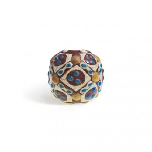 陶胎菱形纹三星蜻蜓眼玻璃珠 约战国(前476年-前221年) Ceramic Three Star Dragonfly Eye Glass Beads With Diamond Pattern Probably Warring States (476 B.C.-221 B.C.)
